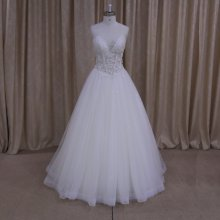 Xf1031 Exquisite Body Shell Elegant See Through Bones Sight Wedding Dress With Beadings Bridal Gown