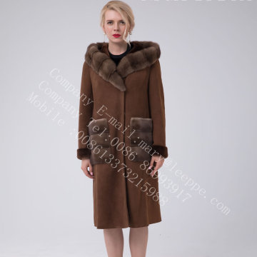 Spanien Merino Shearling Hooded Luxury Coat