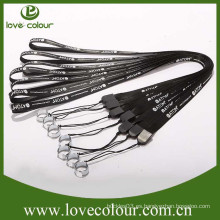 Lanyard personalizado de e-cigarrillos de color negro cordón de poliéster impreso