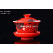 Chinesisch Rot Porzellan Gaiwan 150ccm