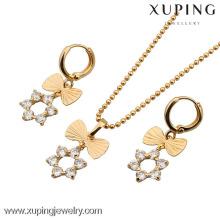 60535-Xuping Moda Mulher Brass Set Jóias com 18K banhado a ouro