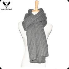 Bufanda de tejer caliente de invierno de color sólido de los hombres