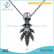 Crânio de alta qualidade pingente de jóias de aço inoxidável, pingente de prata 925