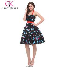 La vendimia de la bola del halter del algodón de la acción de Karin de la tolerancia viste los vestidos del estilo de los años 50 CL4596-2 #