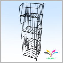 Flooring Stand Powder Coated Metal wire display supermarket shelf
