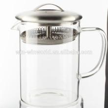 Pichet d'eau en verre de borosilicate de petit pyrex de haute qualité avec le tamis d'acier inoxydable