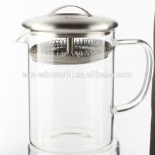 High Quality Small Pyrex Borosilicate Glass Water Jug With Stainless Steel Strainer