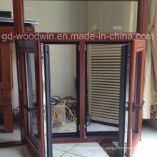 Fenêtre Foshan à double verre trempé Fenêtre composite en bois et en aluminium