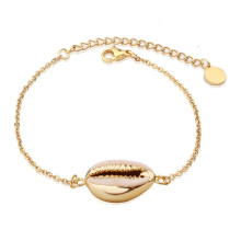 Real Natural Cowrie Shell Bracelet Adjustable Genuine Gold Seashell Chain Bracelet Beach Jewelry
