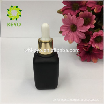 2017 new product 30 ml glass bottle black frosted glass bottle for essential oil black square glass dropper bottle