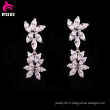Nouveau Boucles d'oreilles nuptiale de fleur de pierre de mode