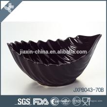 JX-69B Bol de cerámica de forma de hoja de color negro, recipiente de forma de onda, recipiente de color
