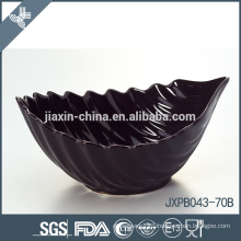JX-69B Black color leaf shape ceramics bowl, wave shape bowl, colored bowl