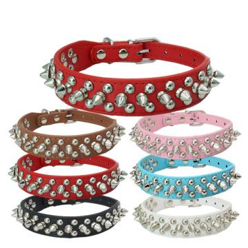 Rivet Studded Adjustable Pu Leather Pet Collars