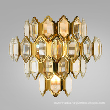 Wholesale hotel restaurant decorative modern crystal luxury gold fancy wall lamp for home