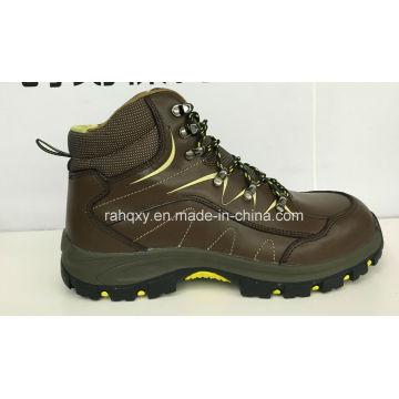 Zapatos de seguridad de cuero liso café (HQ016103)