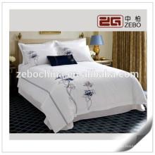 Alta qualidade 100% algodão macio bordado branco conjunto de folhas de cama queen