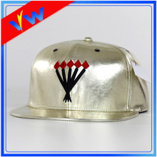 Customize Leather Embroidery Flat Bill Cap
