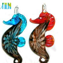 Contas de Vidro Lampwork Murano Multicolor Seahorse Pendants