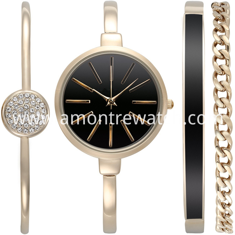 lady watch set- black