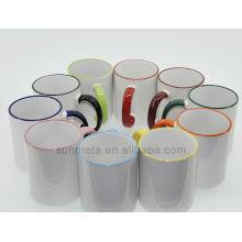 Produtos mais vendidos sublimação cerâmica cor da jante da caneca e cor da alça caneca
