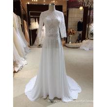 Eine Linie Chiffon Brautkleider mit Half Sleeves