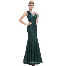 Starzz 2016 sin mangas con cuello en V de espalda verde oscuro largo sirena de encaje formal vestidos de noche de Dubai ST000084-3