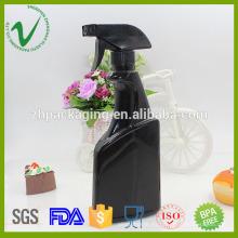 Flat empty spray black shampoo 500 hdpe spray botella de plástico