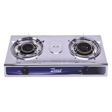 Double Burner Gas Cooker, Popular Stainless Steel Panel