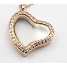Pingente Medalhão Flutuante de Prata / Dourado / Coração de Ouro Rosa com Cristal