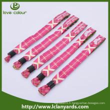 Bracelet promotionnel / bracelet en tissu de festival personnalisé / bracelet tissé