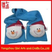 Gants de châle d'hiver Gants en peluche et écharpe avec tête de bonhomme de neige
