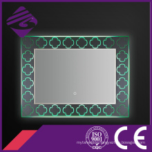 2016 Design Rectangle LED Backlit Bathroom Mirror with Crystal Base