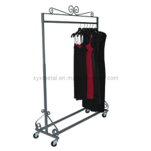 Height Adjusted Clothing Garment Rack with Casters Clothes Stand