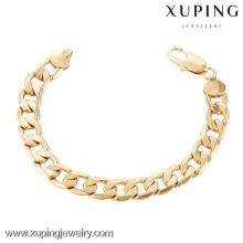 70243 Xuping Novo bracelete de corrente manual banhado a ouro