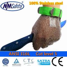 Luvas de corte de carne em aço inoxidável NMSAFETY / luva de segurança em aço inoxidável / luva em aço inoxidável 100%