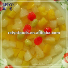 Cóctel de frutas enlatadas (pera, melocotón, piña, cherr, uva)