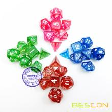 28pcs Assorted Colored Glitter Polyhedral Dice 7pcs Set of 4, Glitter RPG Dice Set d4 d6 d8 d10 d12 d20 d%, Clear Tube Packaging