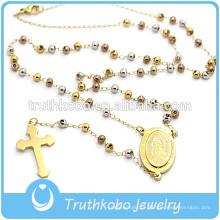 Truthkobo Fornecer Chapeamento Novo Design de Jóias Religiosas de Aço Inoxidável Três Cores Bead Estilo Colar Com Cruz Religiosa