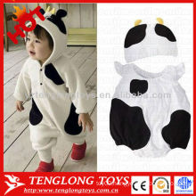 Wholesale 2015 newest warm lovely winter cow animal soft baby romper