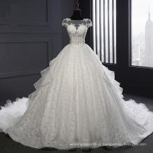 Vestido de noiva de manga curta laço organza bola