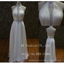 2017 O último design ornamentado beaded back low cut orgenza A-line vestido de noiva