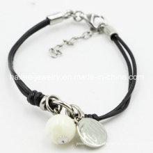 Moda de aço inoxidável pulseira de couro jóias com charme pingente