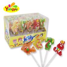 Halal Soft Lollipop Cartoon Animal Jelly Pop Lollipop