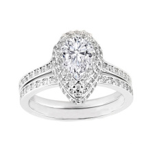 Atacado 925 Silver Double Halo Pear Diamond Diamante Anel