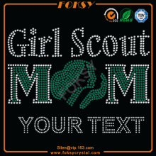 Girl Scouts Mom Your Text transferências de calor em rhinestone