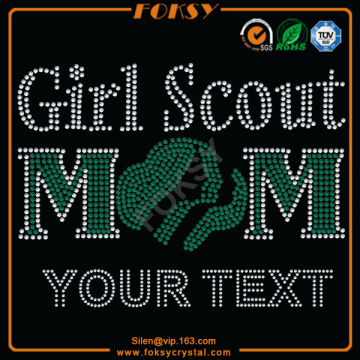 Girl Scouts Mom Your Text rhinestone heat transfers