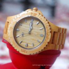 Hlw100 OEM Männer und Frauen aus Holz Uhr Bambus Uhr hohe Qualität Armbanduhr