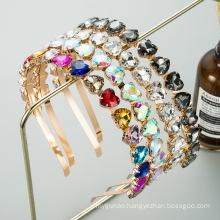 Bandeau fascia per capelli Gem Stone Heart Heabands for Woman Girl Baroque Retro Luxury Hair Accessories Rhienstones Hairbands F