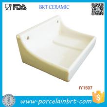 Porte-savon accrochant en céramique simple de rectangle en gros